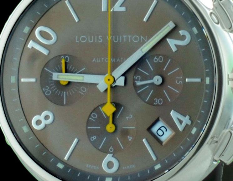 Louis vuitton montre de luxe chrono tambour-gros-plan