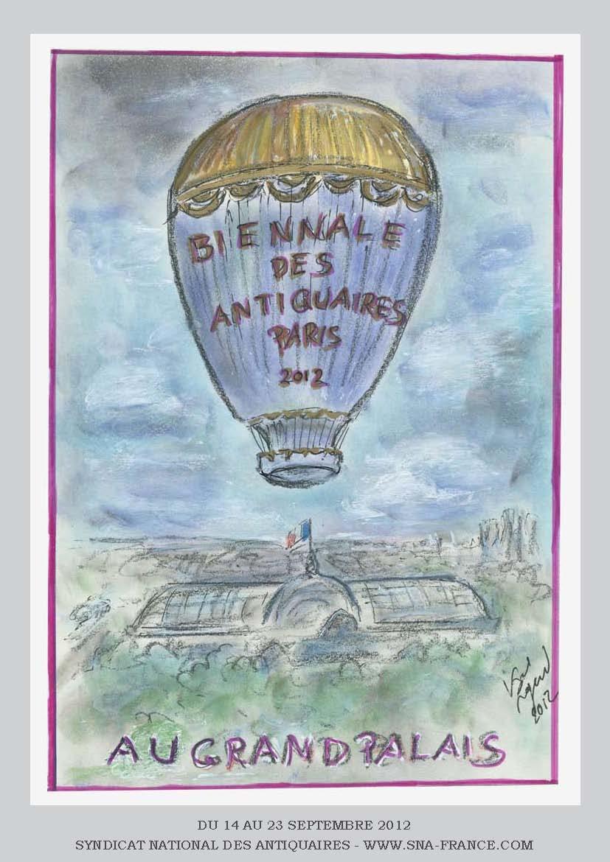 affiche biennale des antiquaires 2012 dessinée par Karl Lagarfeld