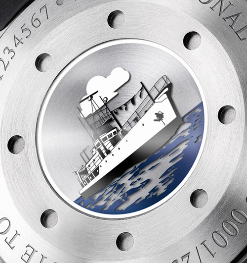 fond du boitier de l'aquatimer cousteau diver chronogrpahe édition spéciale IWC calypso