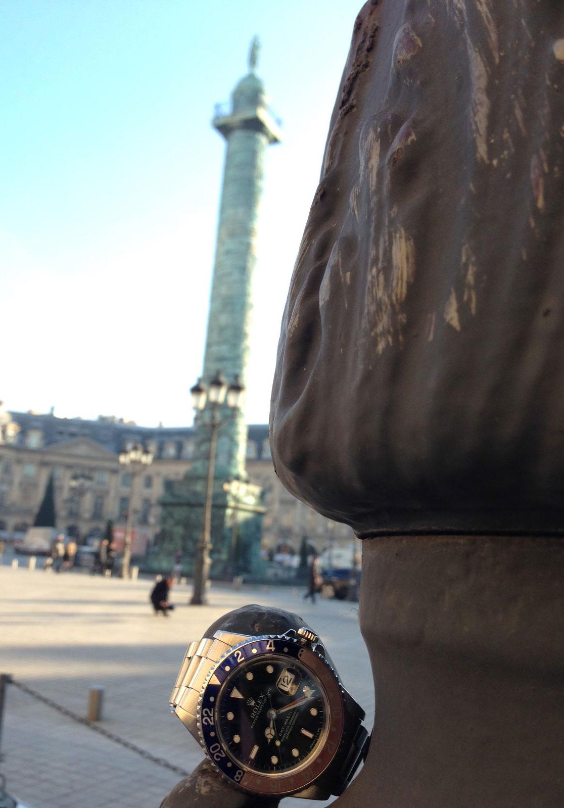 shooting paris place vendôme rolex gmt master cresus occasion